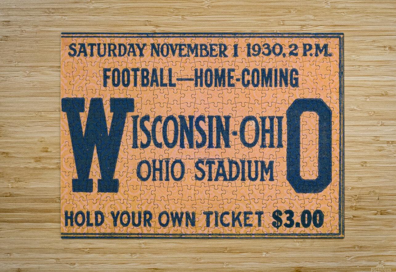 ticket stub metal sign osu buckeyes football vintage tickets wood prints  HD Metal print with Floating Frame on Back