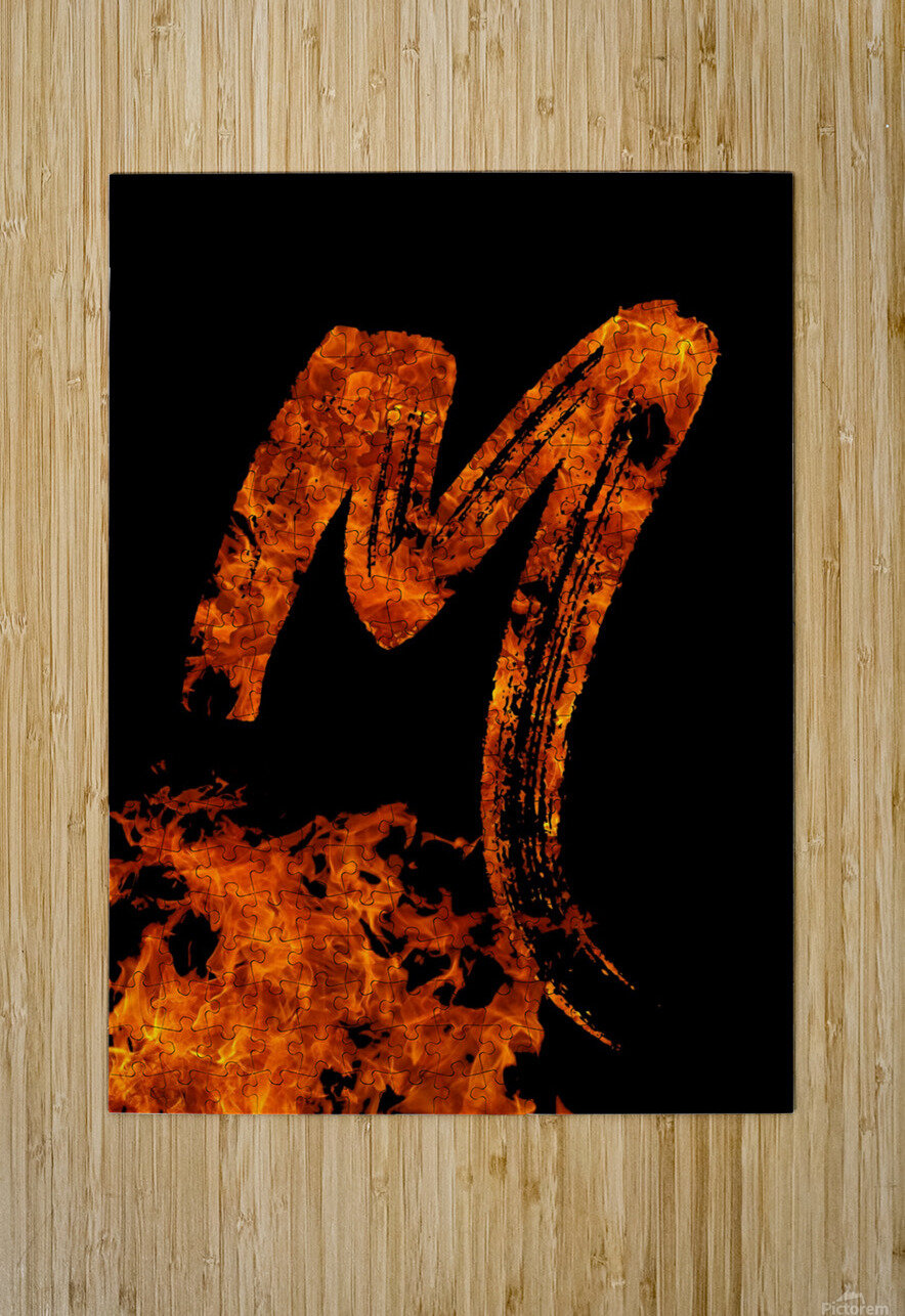 Burning on Fire Letter M  HD Metal print with Floating Frame on Back