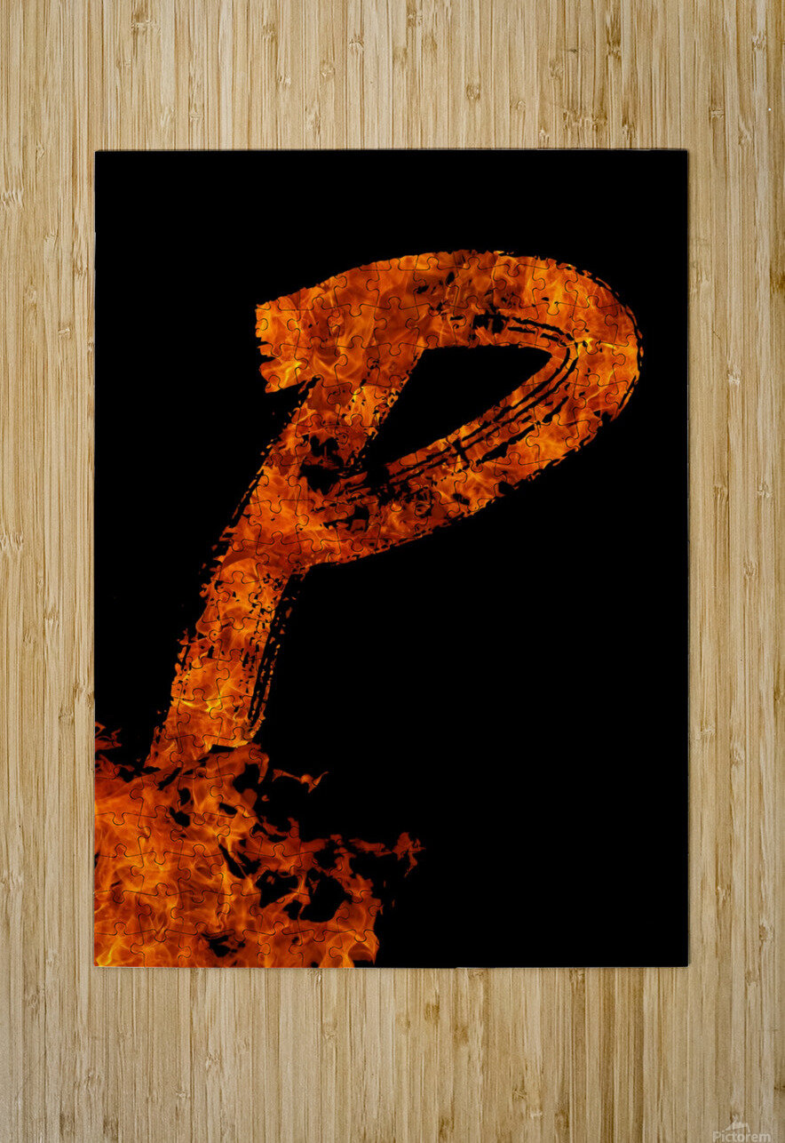 Burning on Fire Letter P  HD Metal print with Floating Frame on Back
