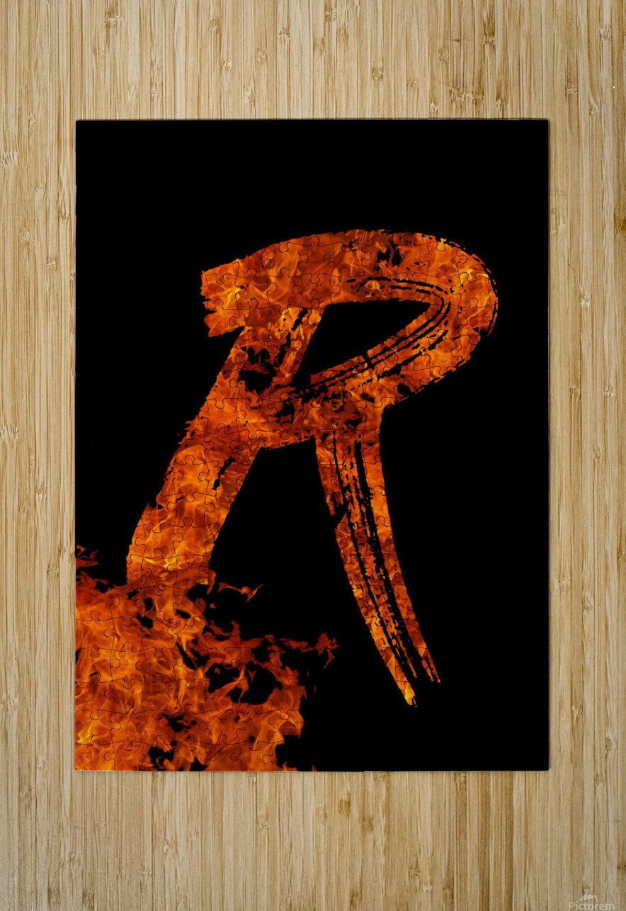 Burning on Fire Letter R  HD Metal print with Floating Frame on Back