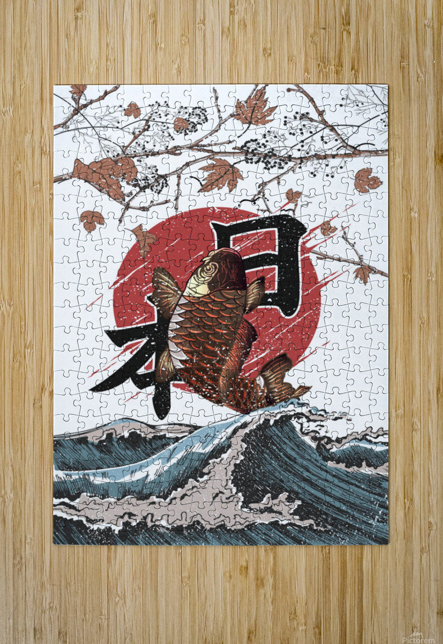 Koi fish fly waves  HD Metal print with Floating Frame on Back