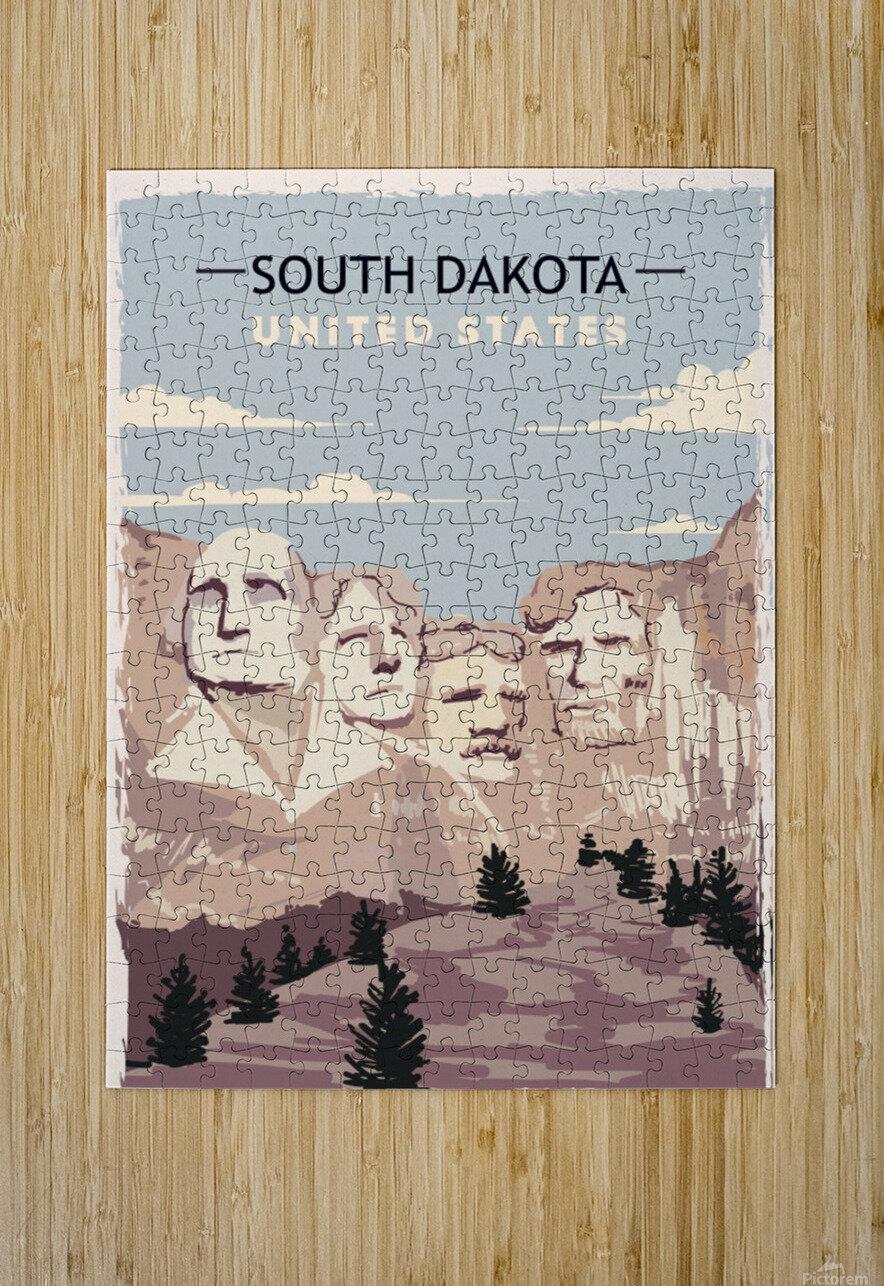south dakota retro poster usa south dakota travel illustration united states america  HD Metal print with Floating Frame on Back