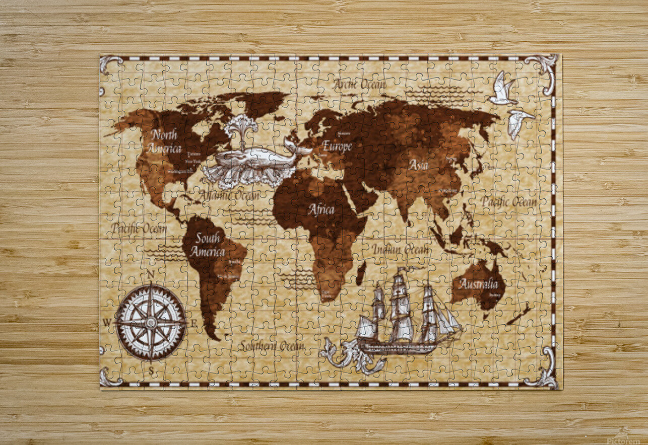 Vintage old classic antique retro map  HD Metal print with Floating Frame on Back