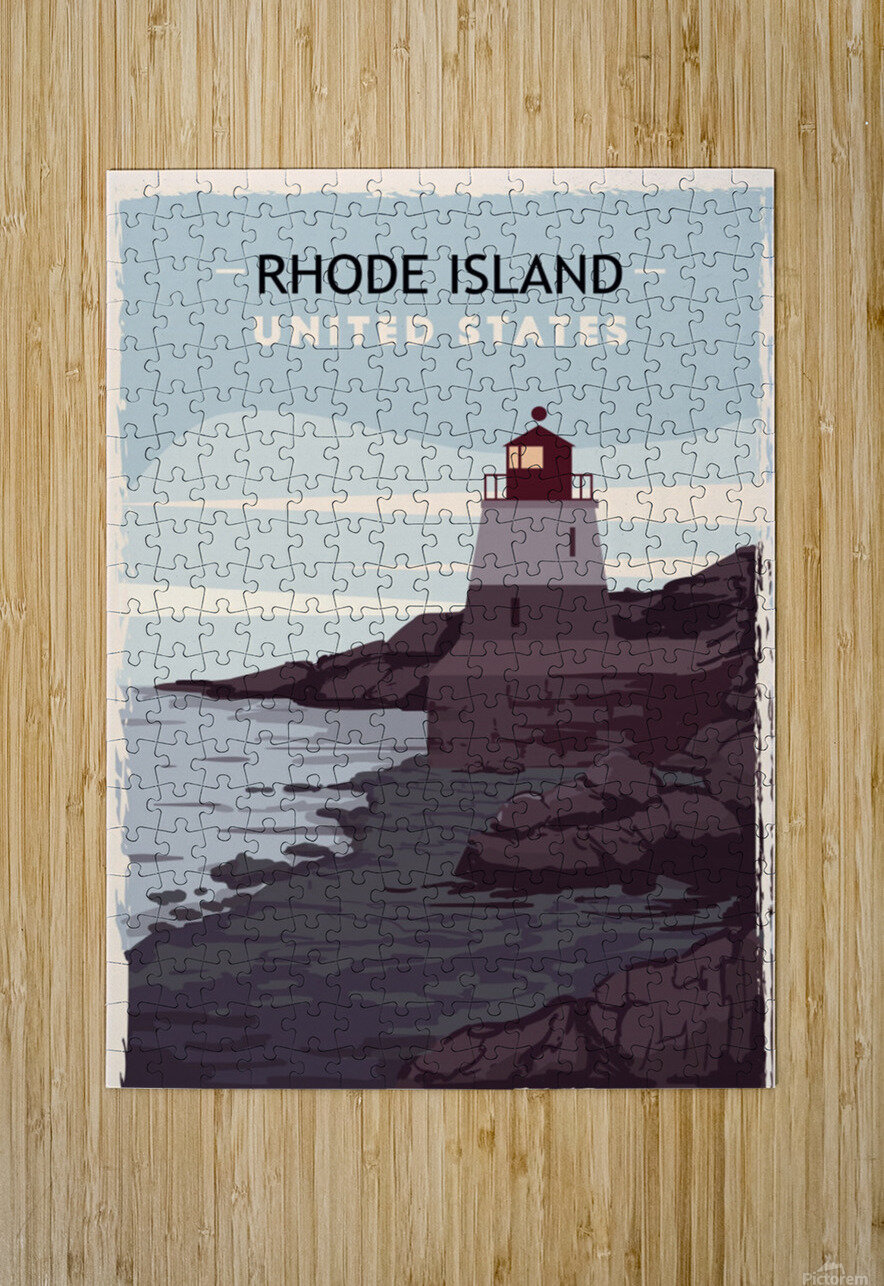 Rhode island retro poster usa rhode island travel illustration united states america  HD Metal print with Floating Frame on Back