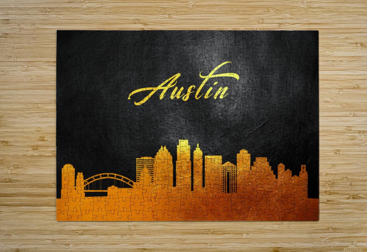 Austin Texas Skyline Wall Art  HD Metal print with Floating Frame on Back