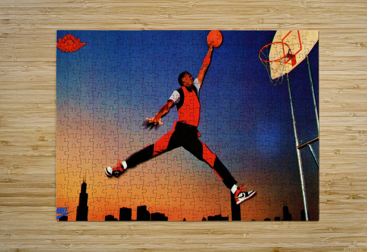 1985 Nike Promo Jordan Rookie Card Wall Art  HD Metal print with Floating Frame on Back