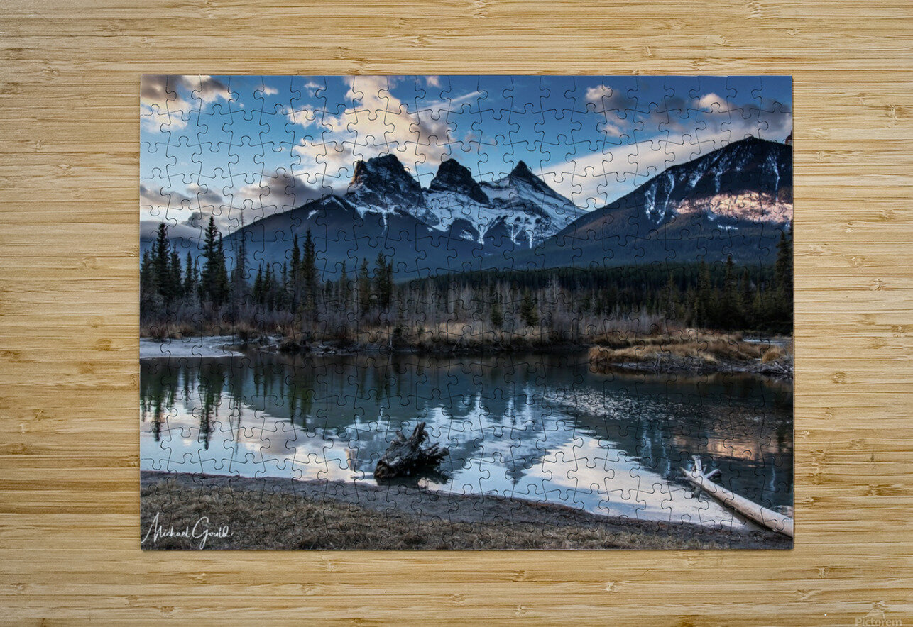Three Sisters Canmore   HD Metal print with Floating Frame on Back
