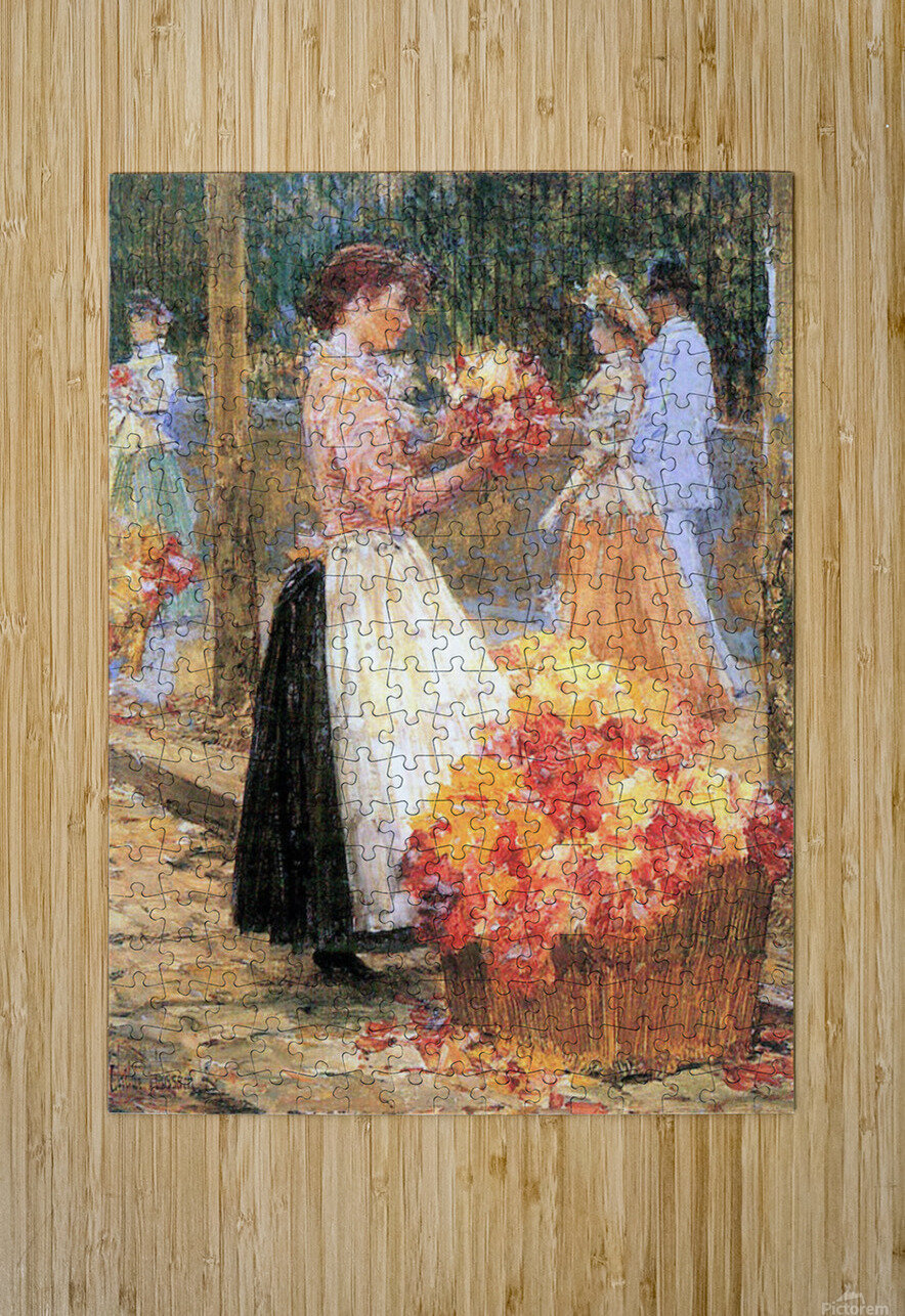 Woman sells flowers by Hassam  HD Metal print with Floating Frame on Back