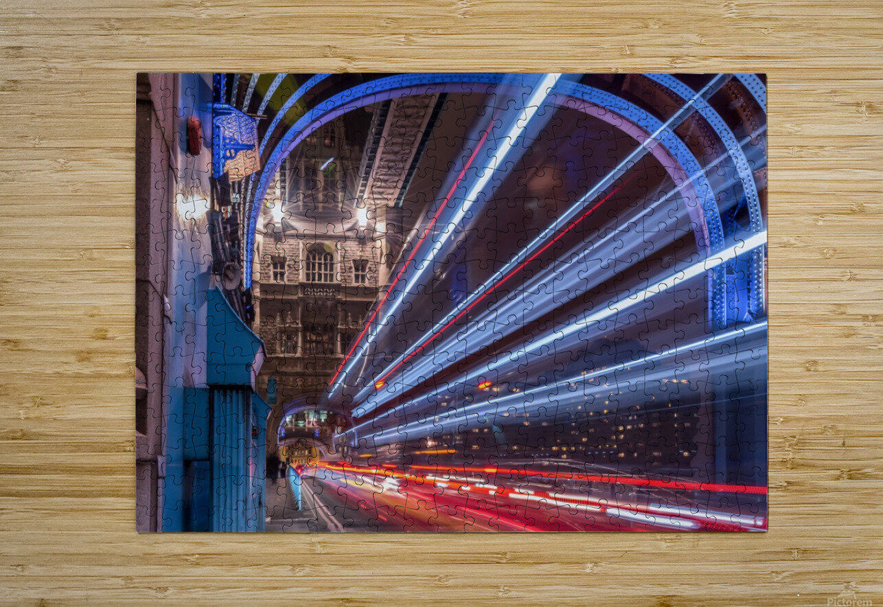 Light trails along Tower Bridge London  HD Metal print with Floating Frame on Back