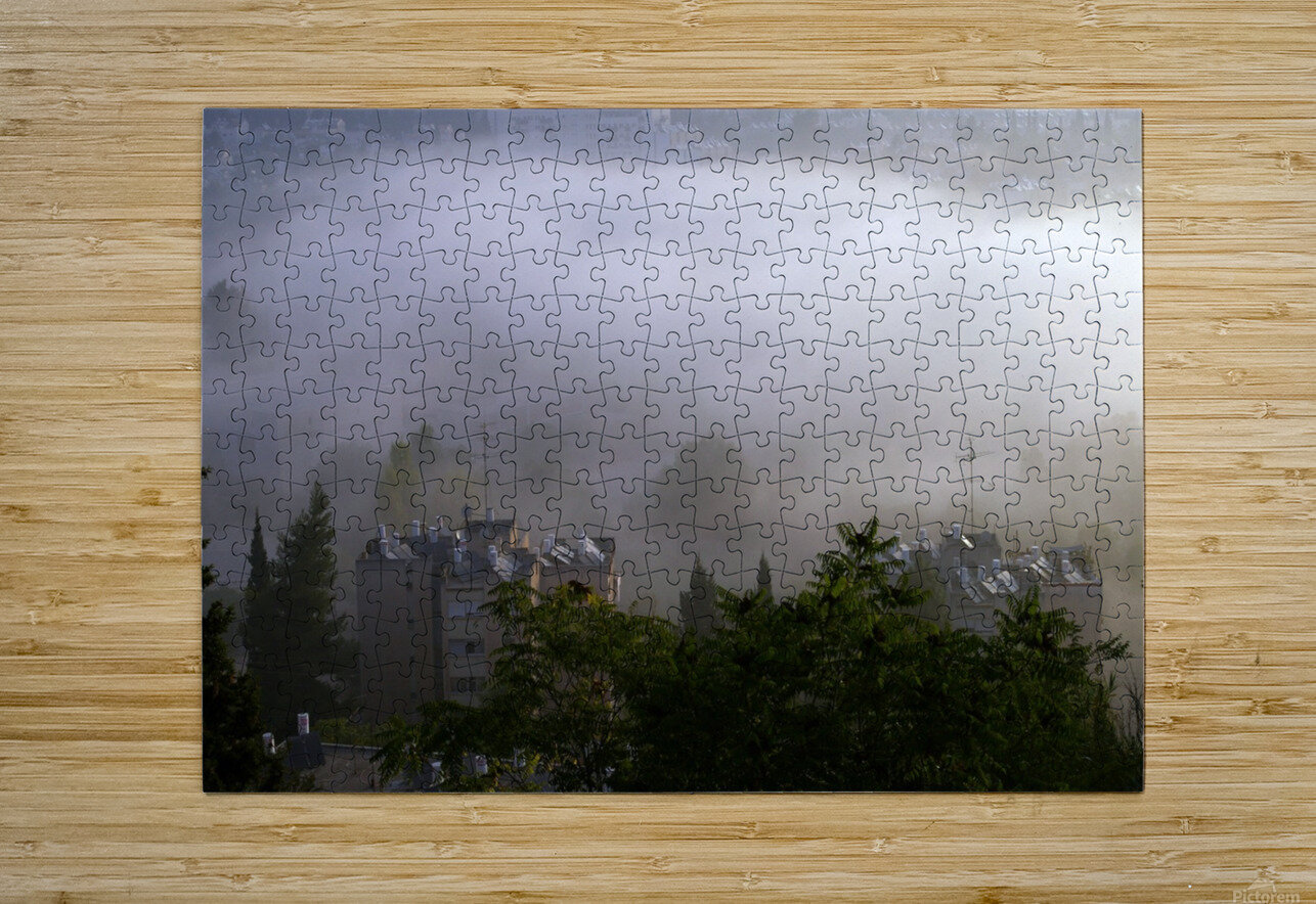 Foggy morning N2  HD Metal print with Floating Frame on Back