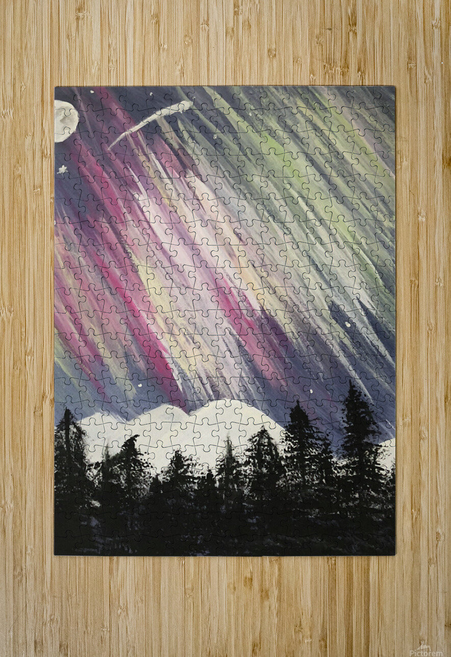 Aurora Borealis Above The Forest  HD Metal print with Floating Frame on Back