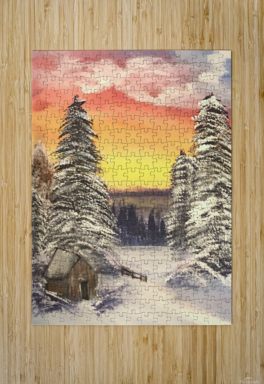Snow At Sunset  HD Metal print with Floating Frame on Back