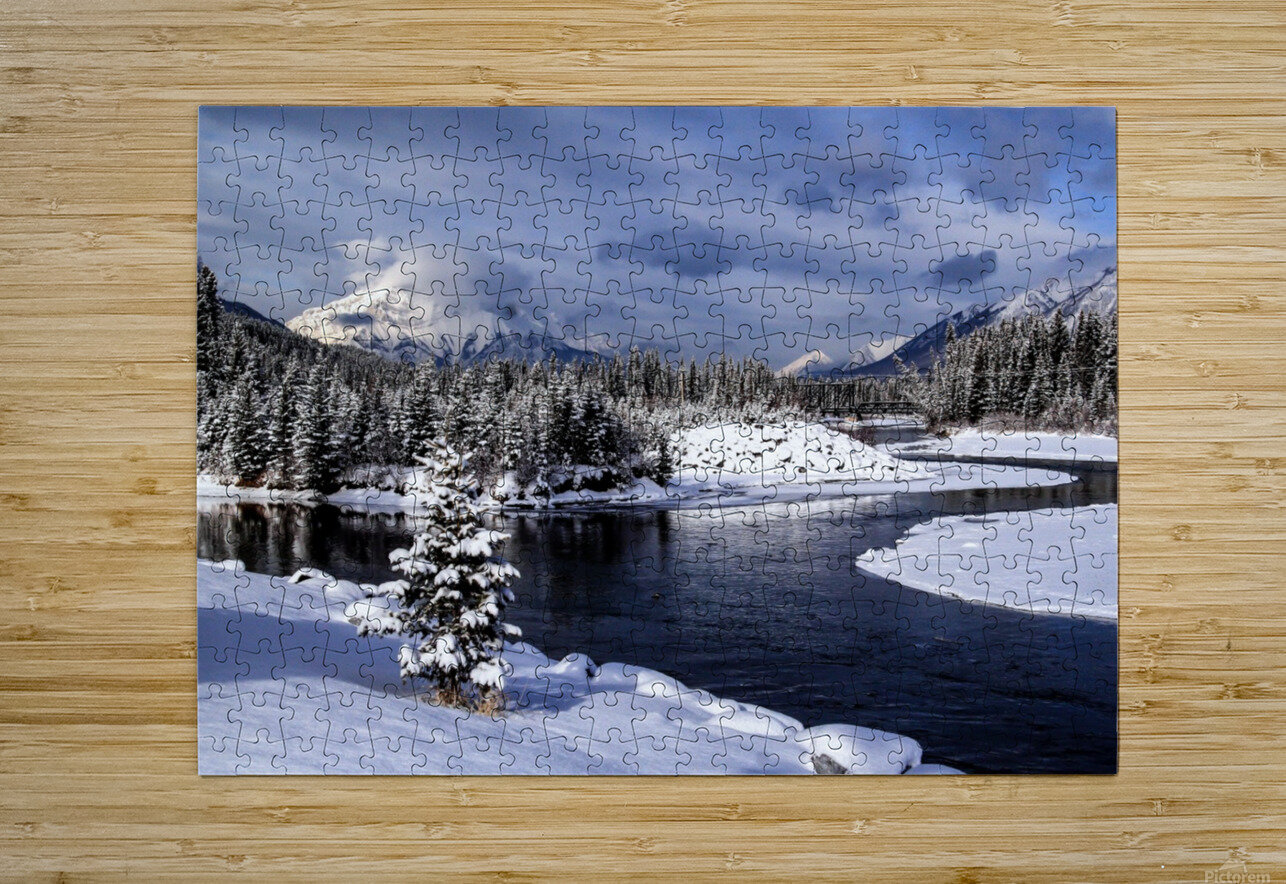 Snowy Bow River Canmore Alberta  HD Metal print with Floating Frame on Back