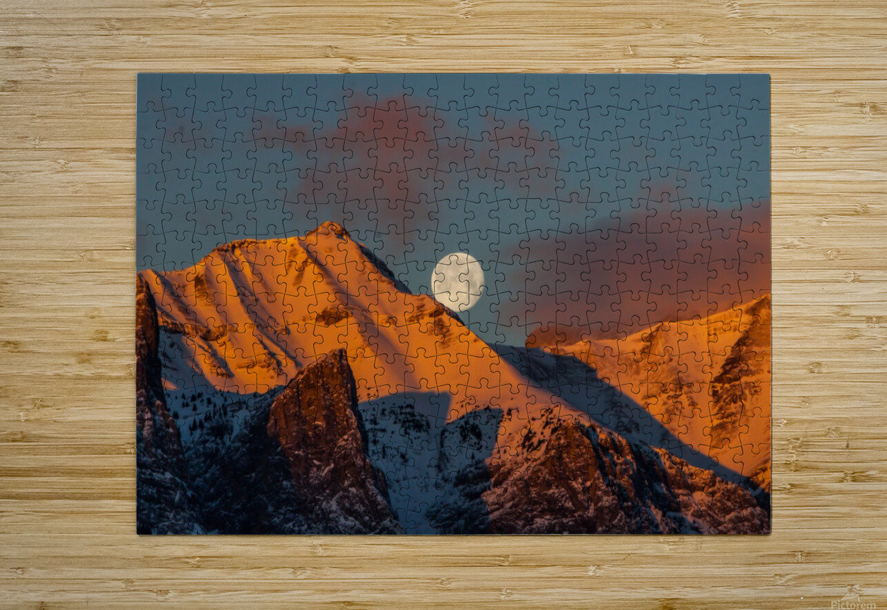 Super Moon Setting Behind Rundle Mountain  HD Metal print with Floating Frame on Back