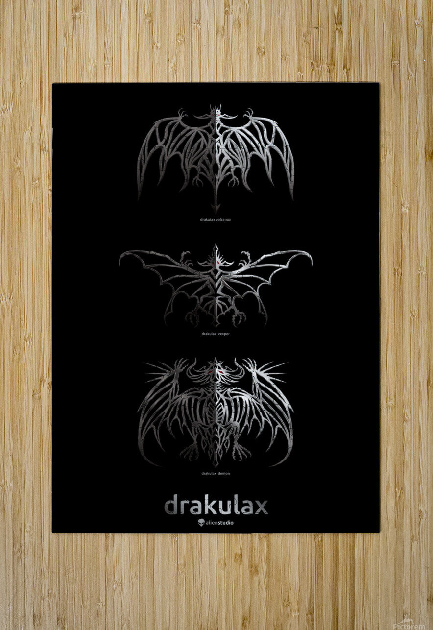 Drakulax Trio  HD Metal print with Floating Frame on Back