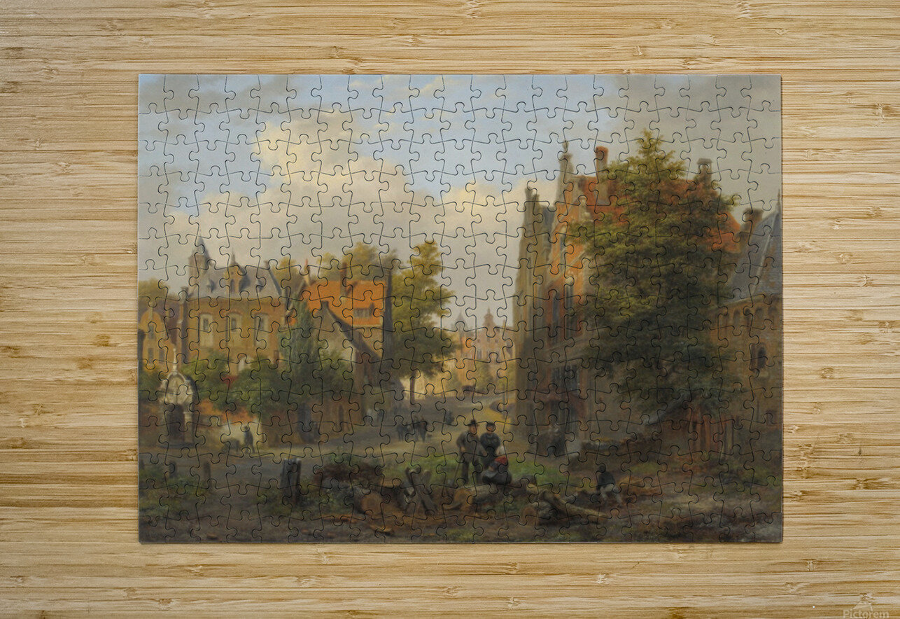 View of a town with figures in conversation  HD Metal print with Floating Frame on Back