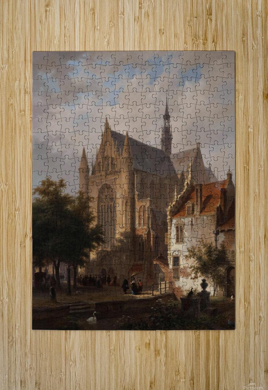 Het uitgaan van de kerk in Leiden  HD Metal print with Floating Frame on Back