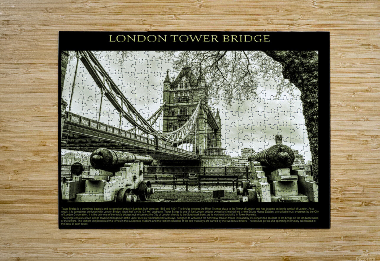 Vintage London Tower Bridge  HD Metal print with Floating Frame on Back