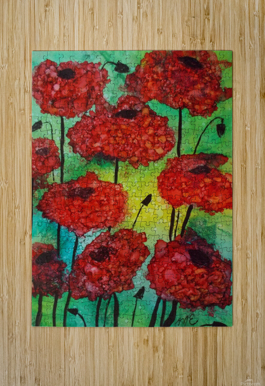 Thinking of Poppies  HD Metal print with Floating Frame on Back