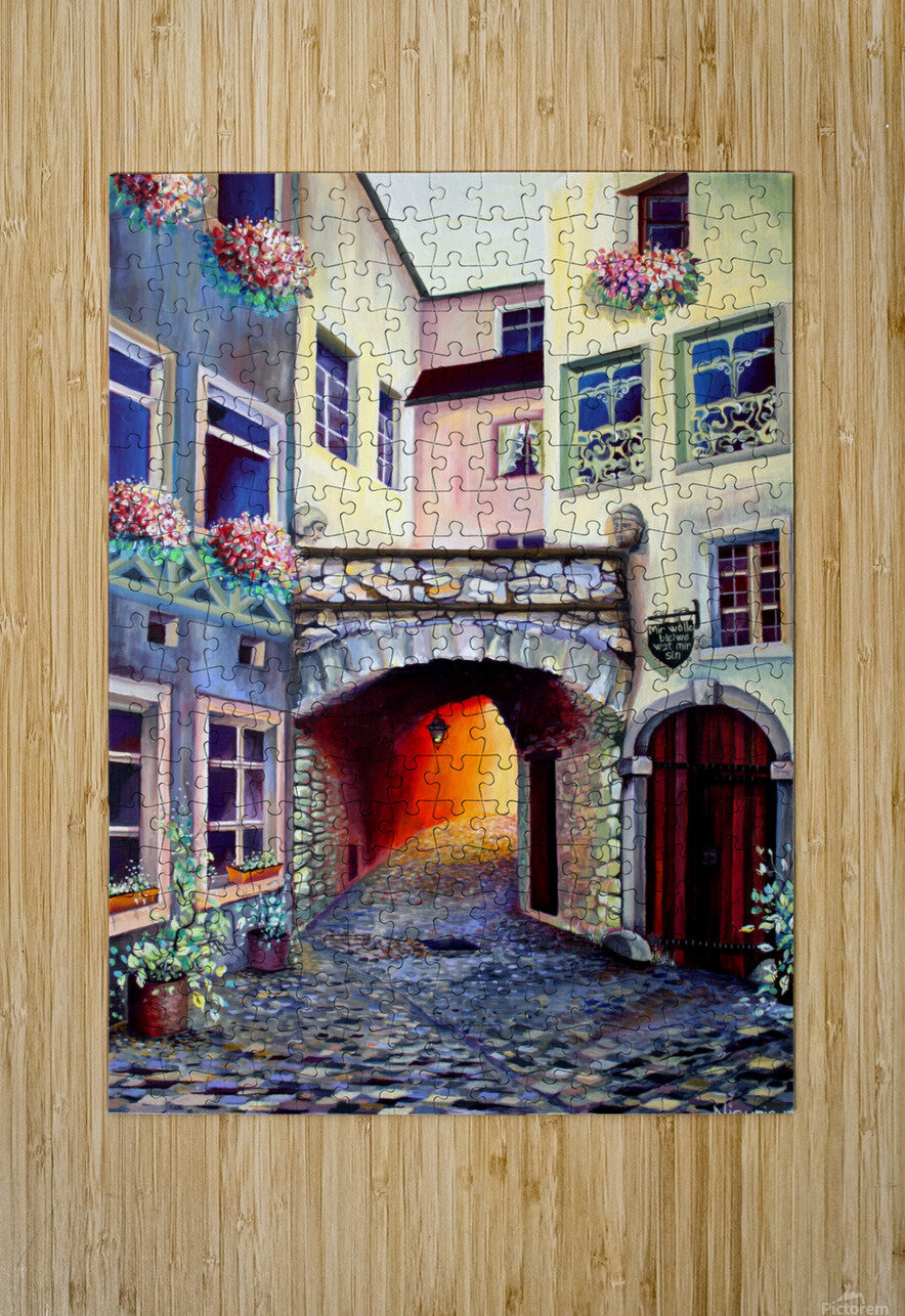 Brussels Cityscape Bohemian Painting  HD Metal print with Floating Frame on Back