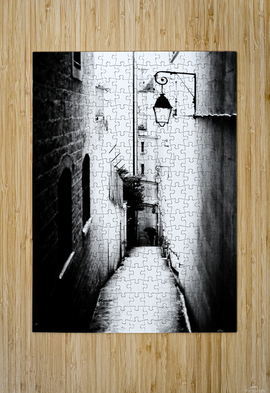 a very narrow street in Paris  HD Metal print with Floating Frame on Back