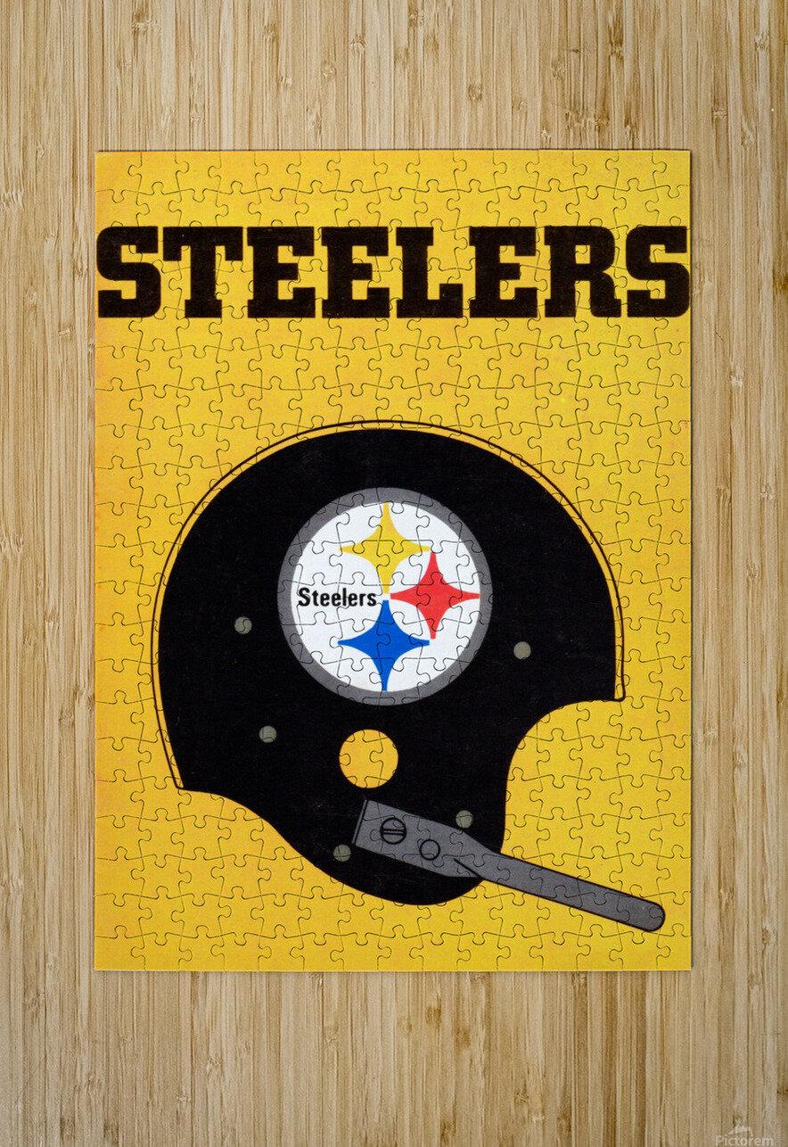 1968 Pittsburgh Steelers Helmet Art  HD Metal print with Floating Frame on Back