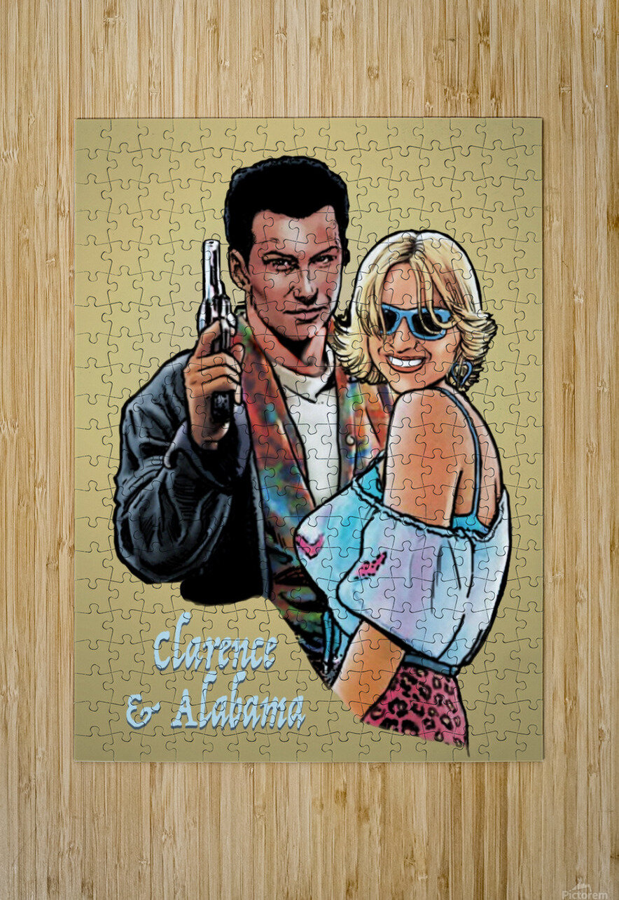 Tarantino: True Romance - Clarence and Alabama  HD Metal print with Floating Frame on Back