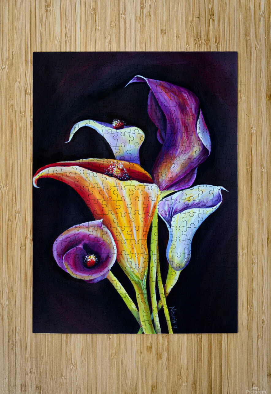 Calla Lilies in Blooming Bouquet  HD Metal print with Floating Frame on Back