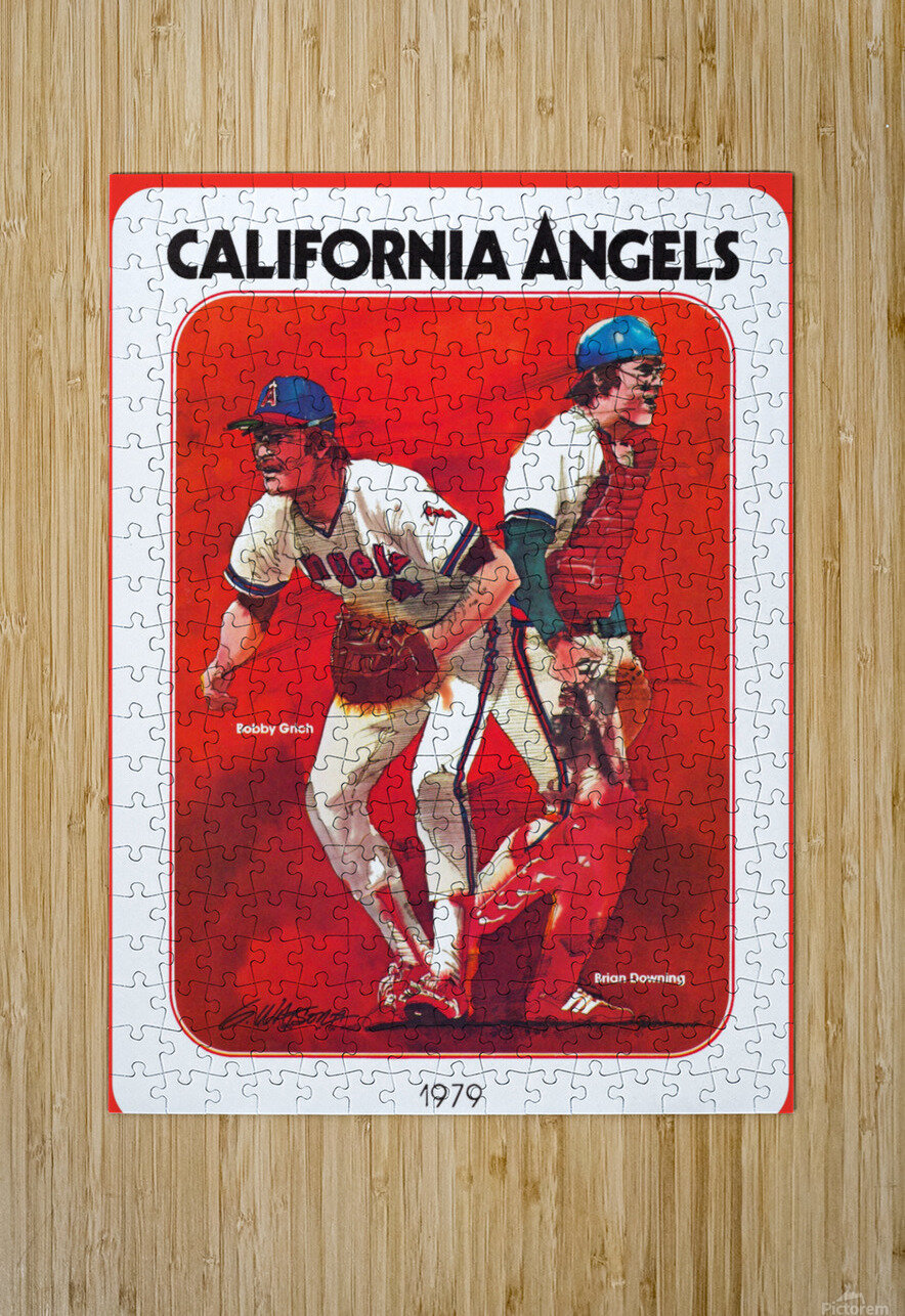 retro california angels poster baseball art row one (1)  HD Metal print with Floating Frame on Back
