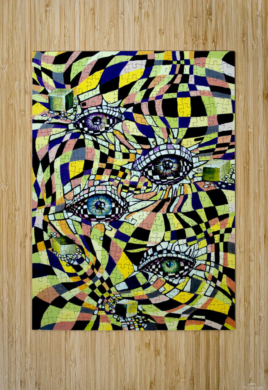 All Seeing Eye in Pop Surrealism   HD Metal print with Floating Frame on Back