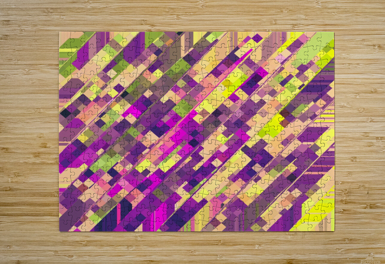 geometric square pixel pattern abstract background in pink purple green  HD Metal print with Floating Frame on Back
