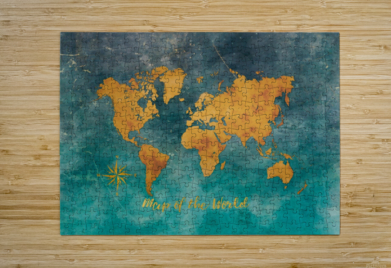 World Map 3  HD Metal print with Floating Frame on Back