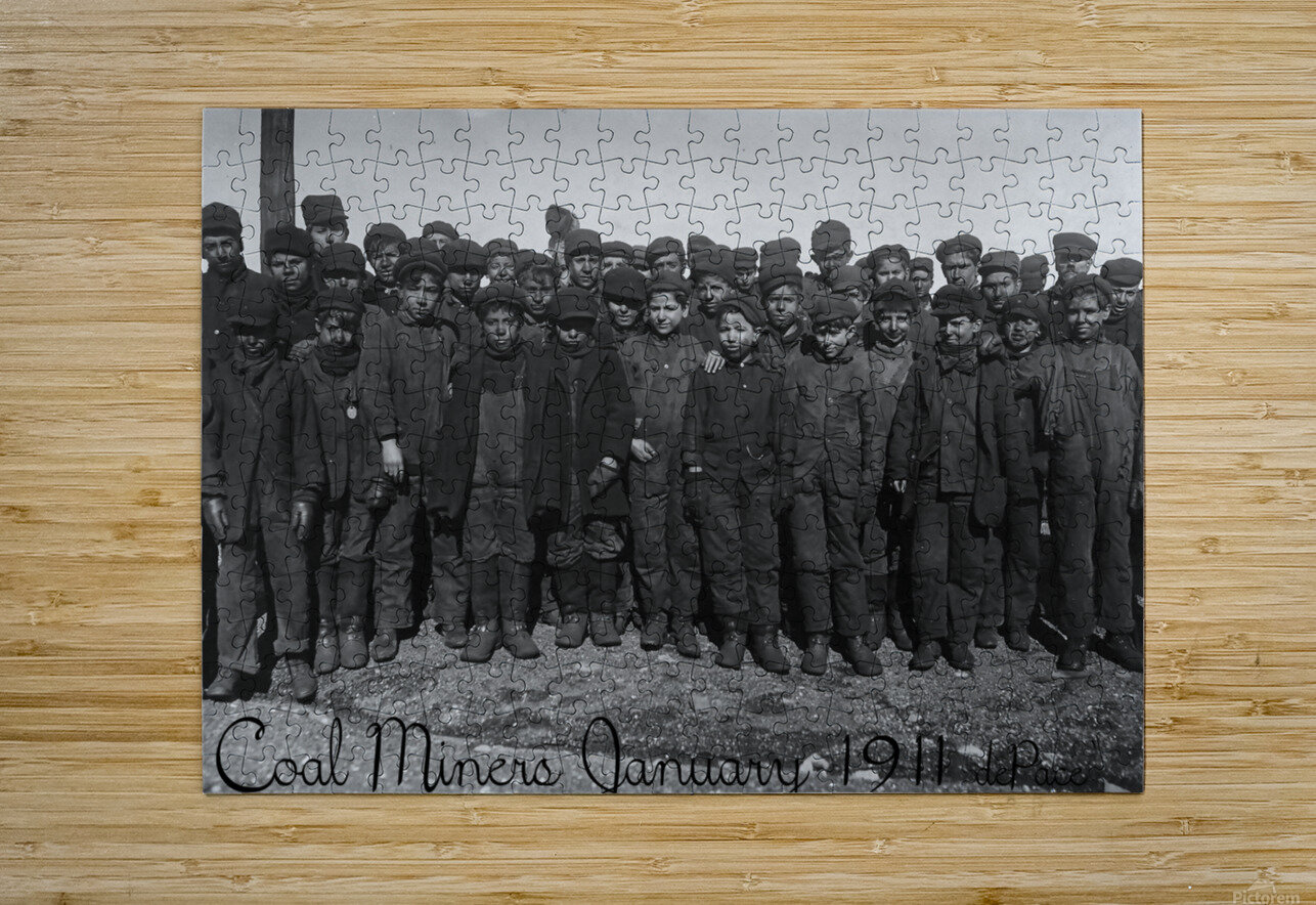 Coal Miners January 1911  HD Metal print with Floating Frame on Back
