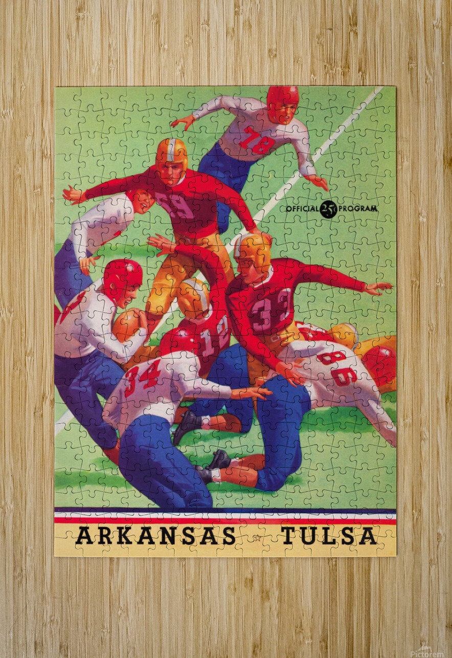 1945 university tulsa football program cover art  HD Metal print with Floating Frame on Back