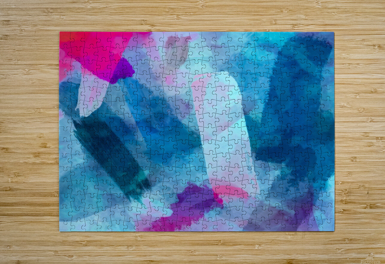 splash painting texture abstract background in blue pink  HD Metal print with Floating Frame on Back