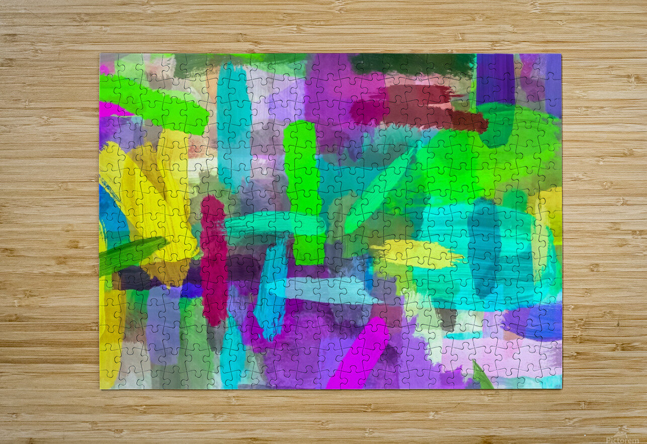 splash brush painting texture abstract background in green blue pink purple  HD Metal print with Floating Frame on Back