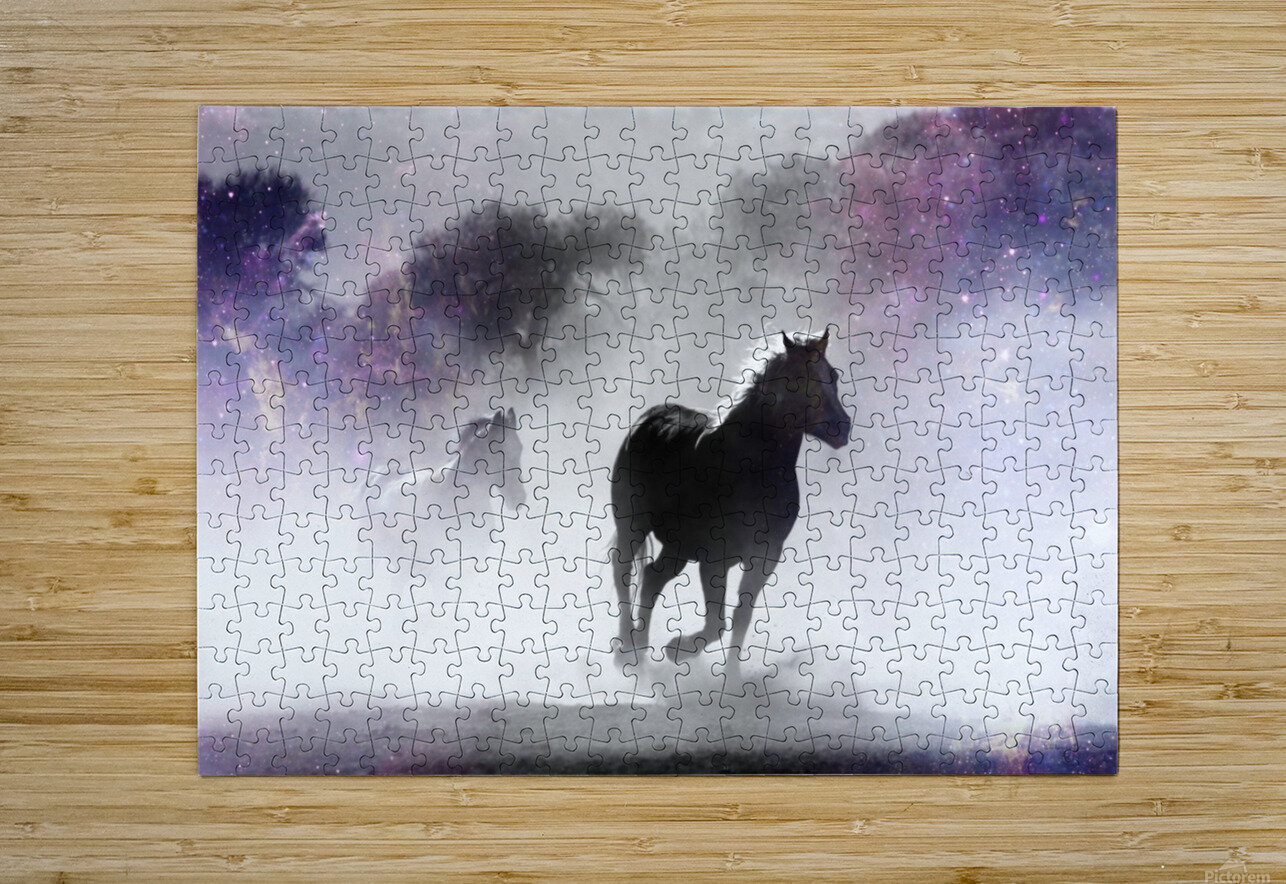 Wild Horses in Nature  HD Metal print with Floating Frame on Back