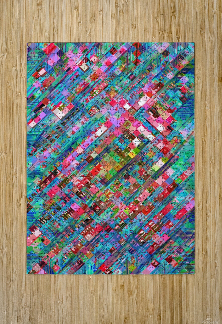 geometric square pixel pattern abstract background in blue pink  HD Metal print with Floating Frame on Back