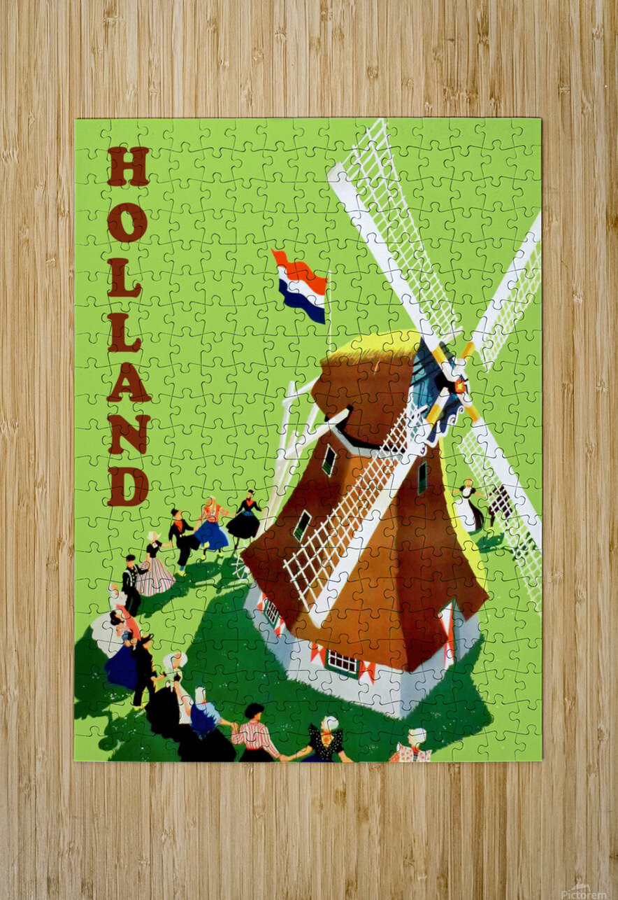 Holland Windmill  HD Metal print with Floating Frame on Back