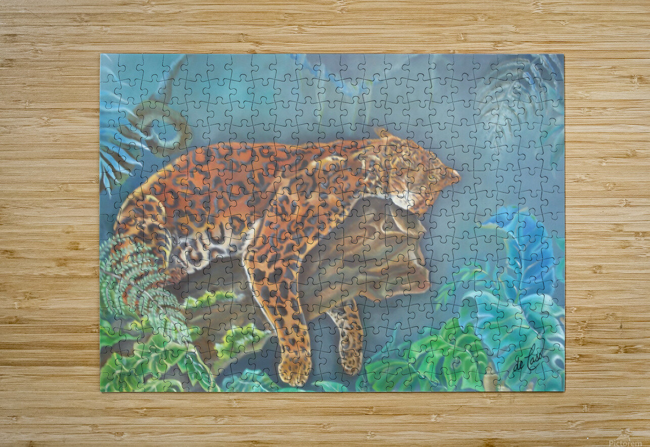 Gorgeous leopard resting in the jungle during the day  HD Metal print with Floating Frame on Back