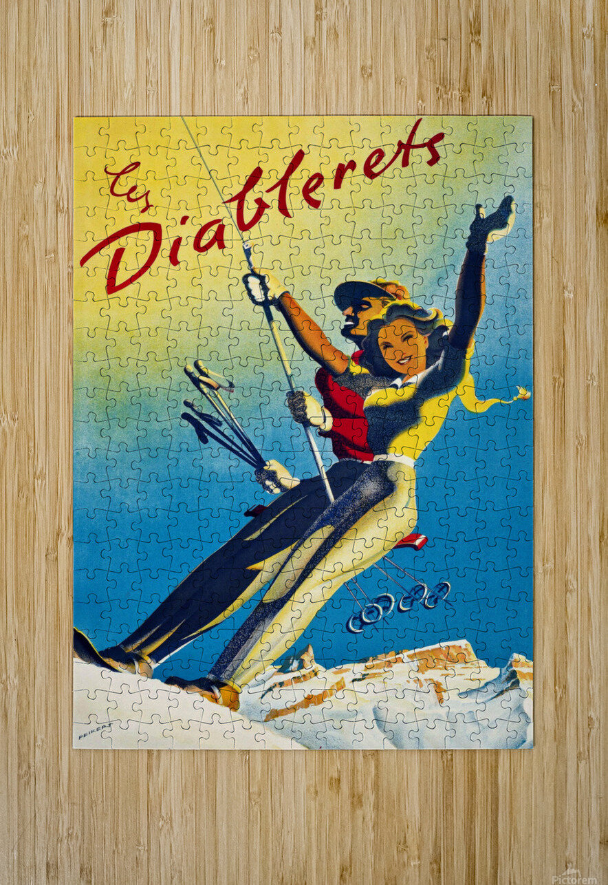 Skiing on Les Diablerets  HD Metal print with Floating Frame on Back