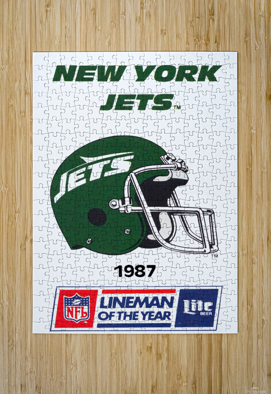1987 New York Jets Helmet Art  HD Metal print with Floating Frame on Back