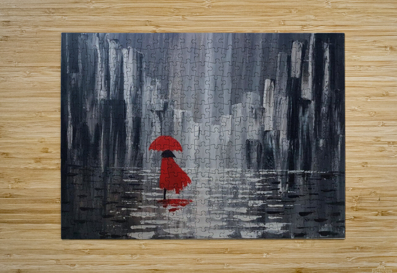 lady in red  HD Metal print with Floating Frame on Back