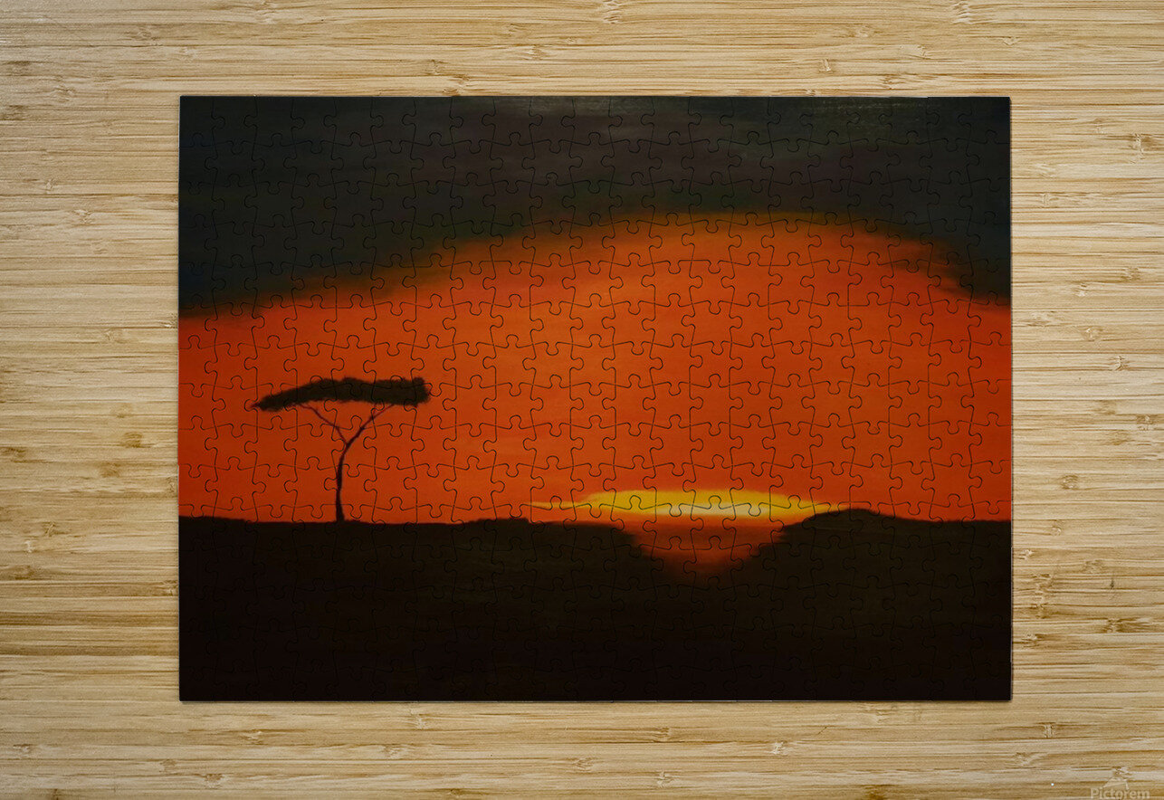 Sunrise of Serengeti  HD Metal print with Floating Frame on Back