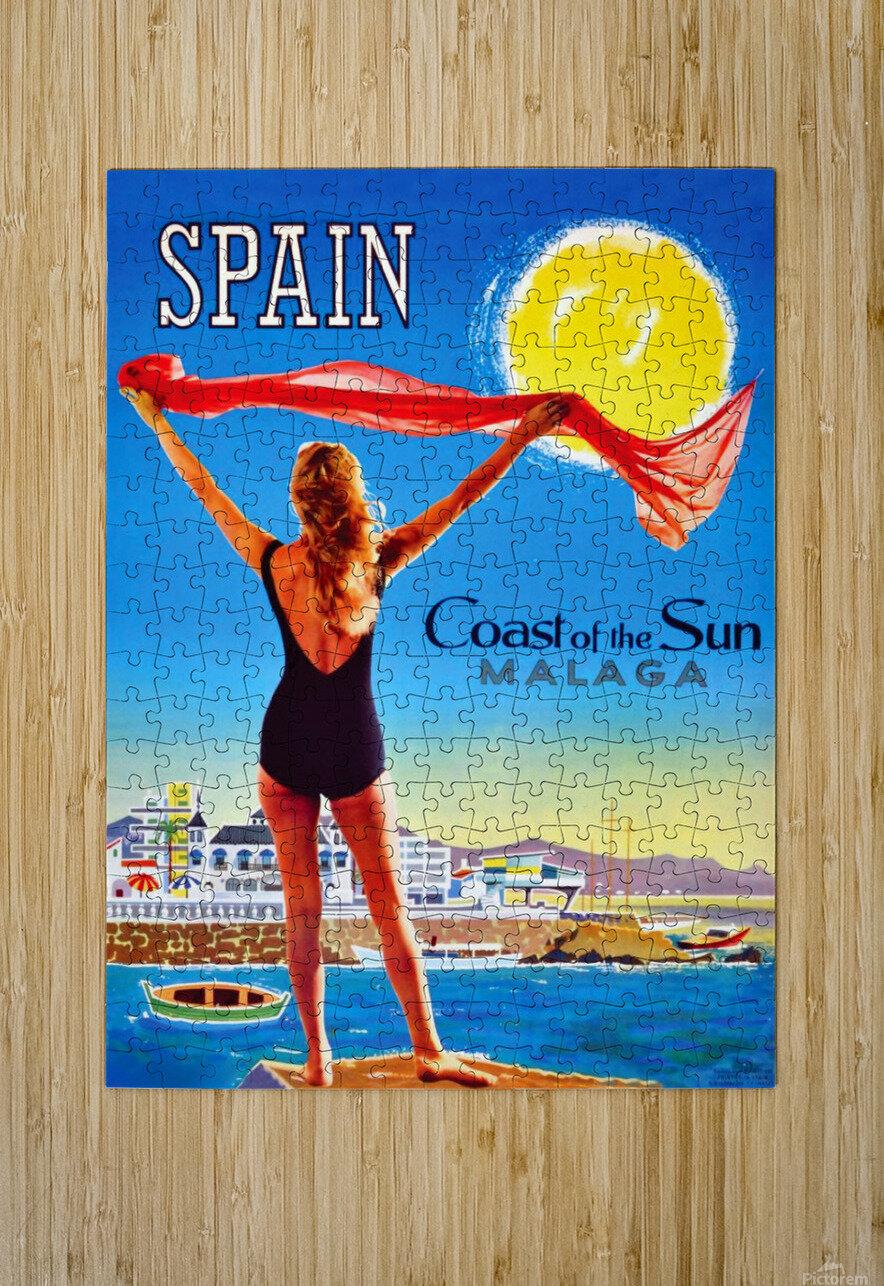 Girl on Malaga Beach  HD Metal print with Floating Frame on Back