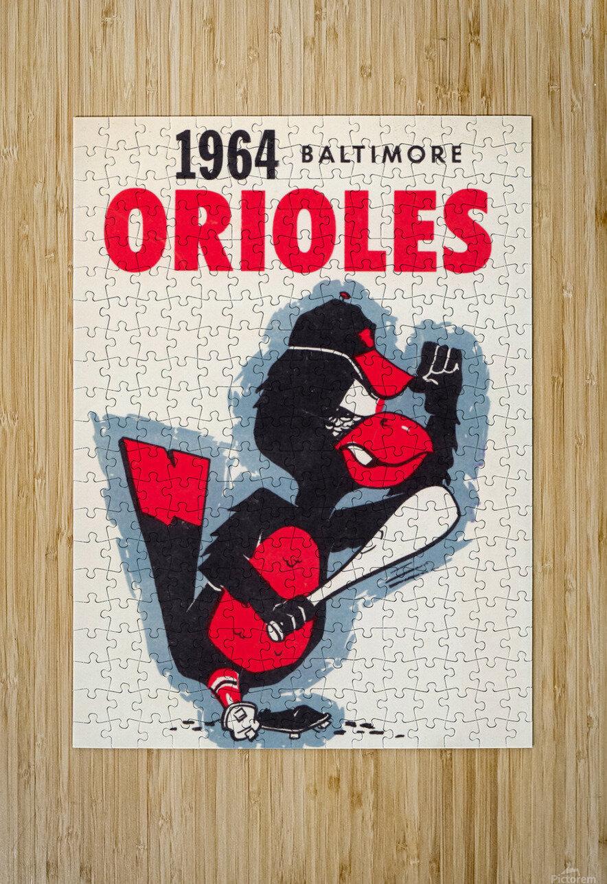 1964 baltimore orioles vintage baseball art poster  HD Metal print with Floating Frame on Back