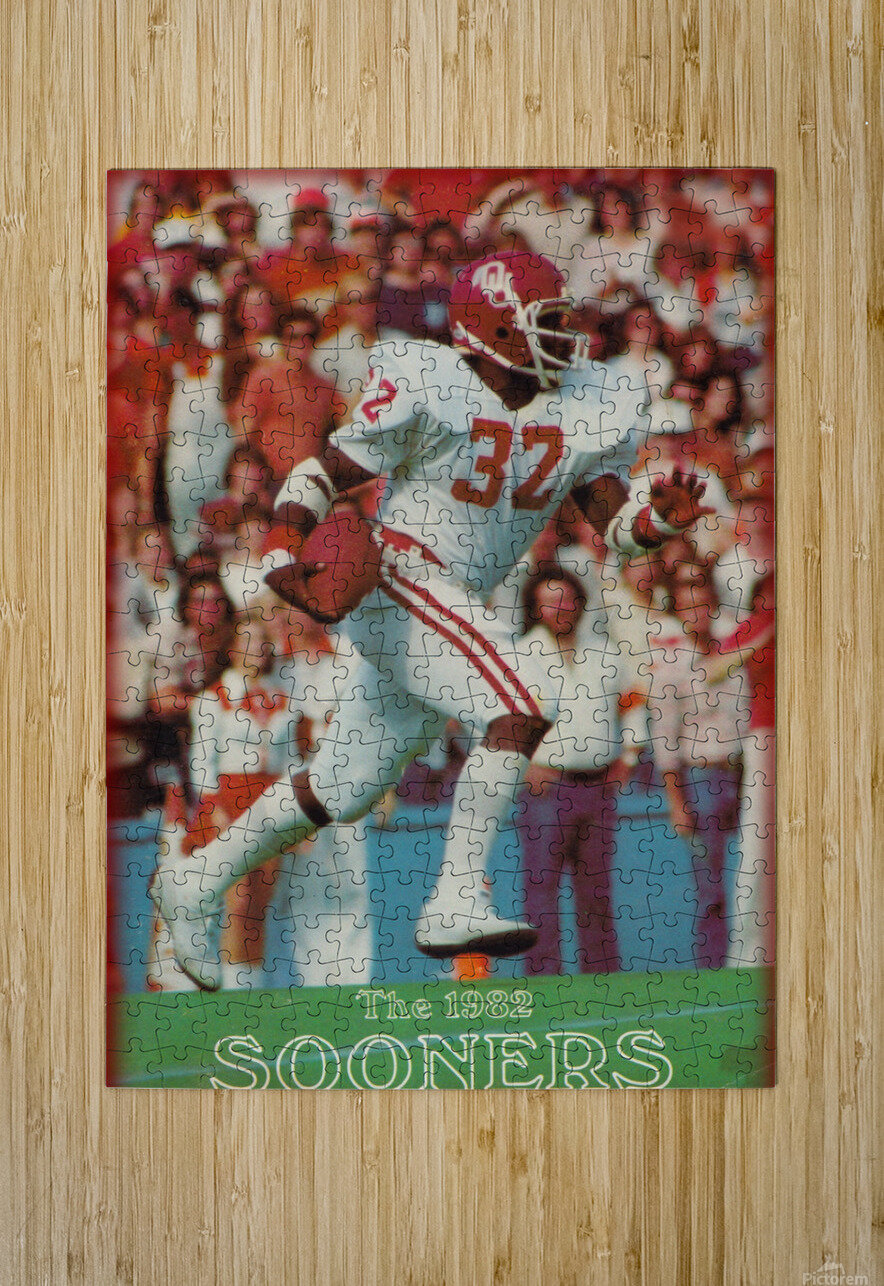 1982 oklahoma sooners retro college football poster  HD Metal print with Floating Frame on Back
