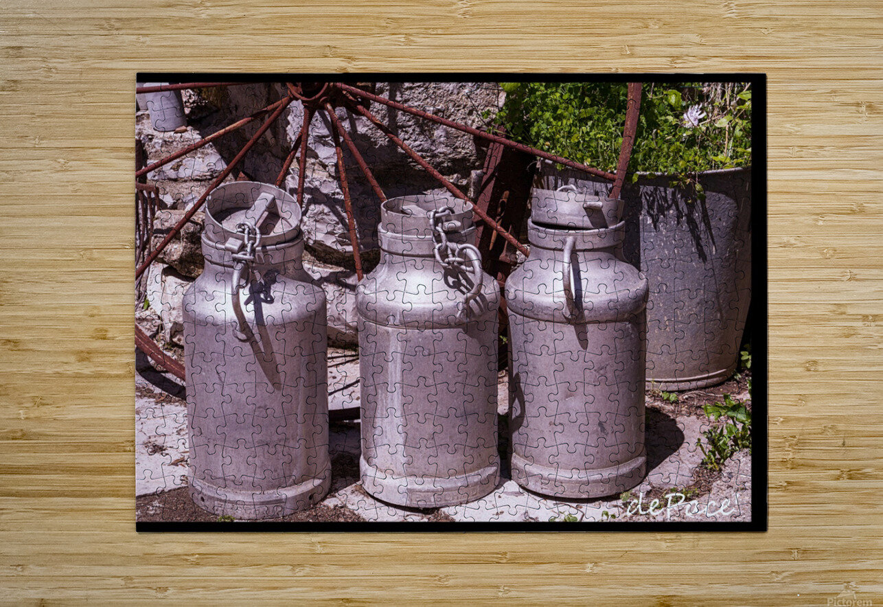 rustic milk cans  HD Metal print with Floating Frame on Back