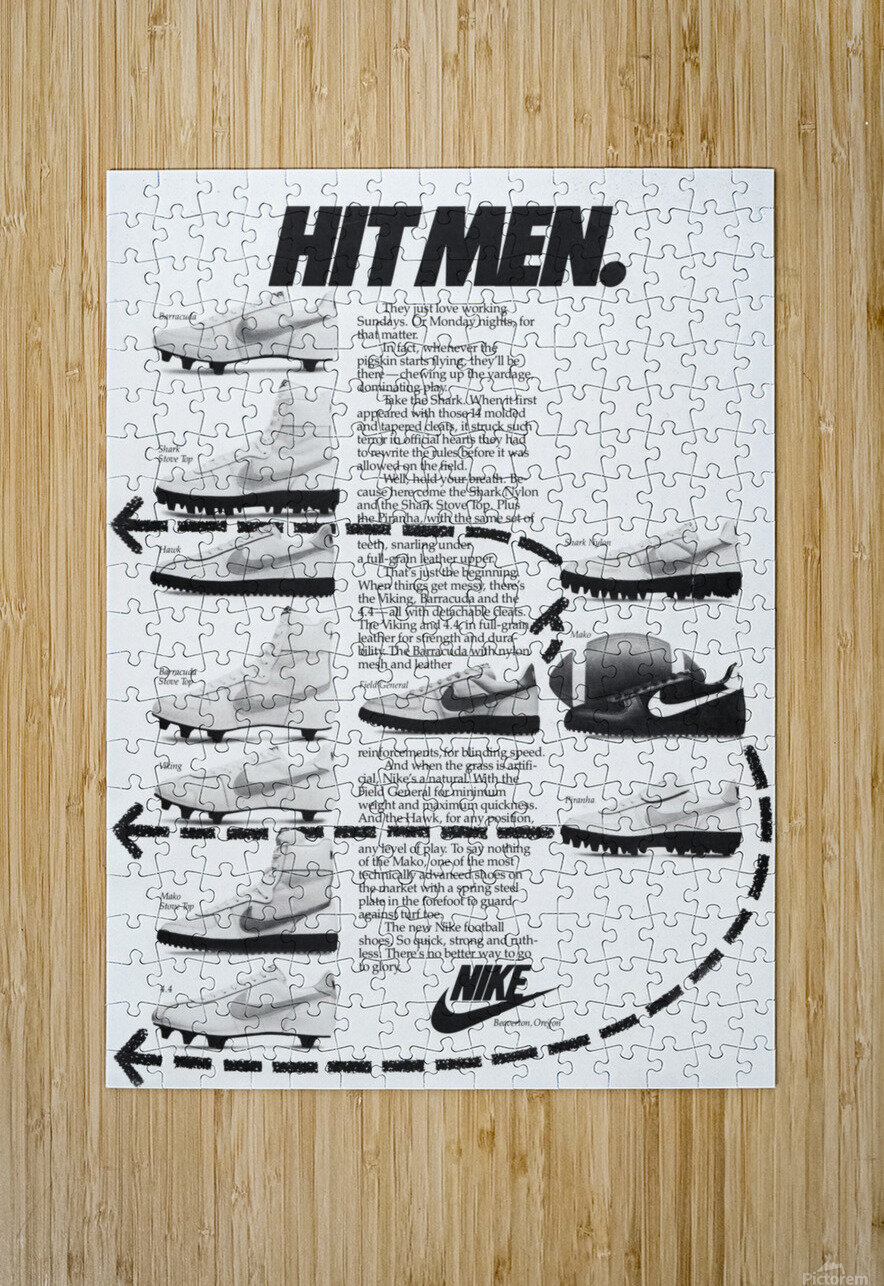 Hit Men Nike Shoes Ad Poster Reproduction 1982  HD Metal print with Floating Frame on Back