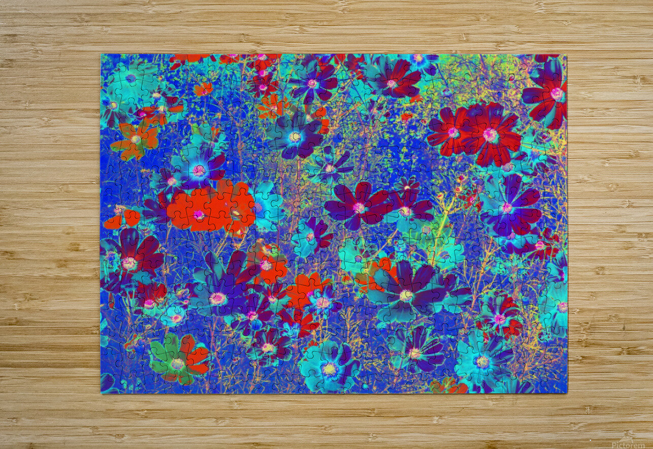 Cosmos Flowers Blue Red  HD Metal print with Floating Frame on Back
